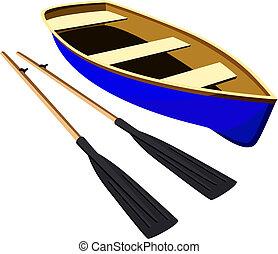 blaues boot, mit, ruder