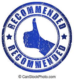 blaues, briefmarke, empfohlen, grunge