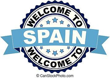 blaues, briefmarke, herzlich willkommen, gummi, schwarz, spanien