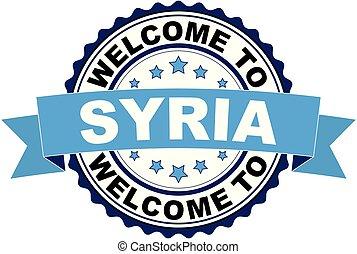 blaues, briefmarke, herzlich willkommen, gummi, schwarz, syrien