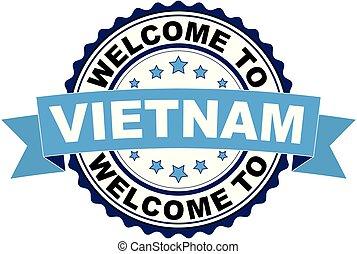 blaues, briefmarke, herzlich willkommen, gummi, vietnam, schwarz