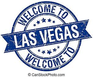blaues, briefmarke, herzlich willkommen, las vegas, runder , geschenkband, las