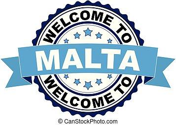 blaues, briefmarke, herzlich willkommen, malta, gummi, vektor, schwarz, abbildung