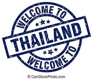 blaues, briefmarke, herzlich willkommen, thailand
