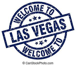 blaues, briefmarke, las vegas, herzlich willkommen, las