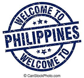 blaues, briefmarke, philippinen, herzlich willkommen
