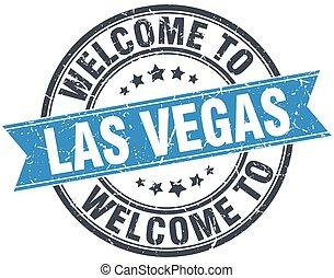 blaues, briefmarke, weinlese, herzlich willkommen, las vegas, runder , las