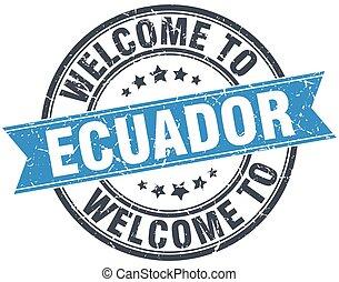 blaues, briefmarke, weinlese, herzlich willkommen, runder , ekuador