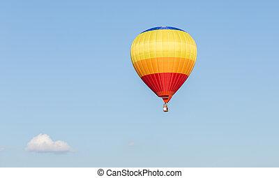 blaues, bunte, balloon, himmelsgewölbe, luft, heiß