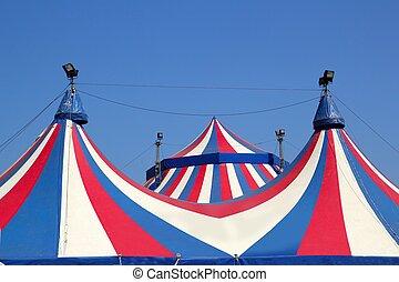 blaues, bunte, zirkus, himmelsgewölbe, streifen, unter, zelt