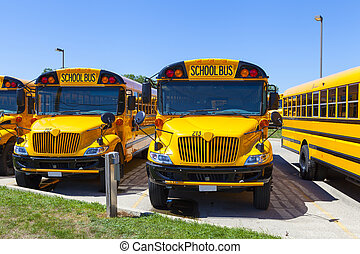 blaues, bus, schule, himmelsgewölbe, gelber