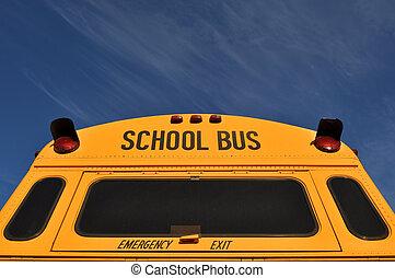 blaues, bus, schule, himmelsgewölbe, zurück