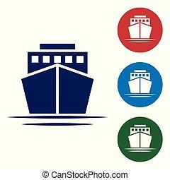 blaues, buttons., farbe, weißes, freigestellt, vektor, hintergrund., satz, abbildung, kreis, schiff, ikone