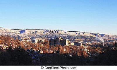 blaues, caucasus, winter, himmelsgewölbe, holz, sonnenaufgang