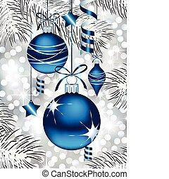 blaues, christbaumkugeln