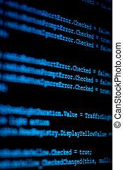 blaues, code, computermonitor, quelle, programm, zeigen