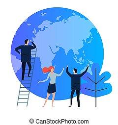 blaues, company., ökologie, planet, geschaeftswelt, umwelt, verunreinigung, nehmen, global, symbol., business., schauen, problem., schutz, eco-freundlich, welt, flachdrehen, erde, mann, wärmen, sorgfalt