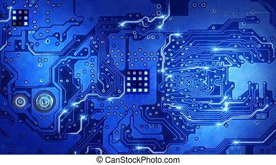 blaues, computerausschuß, stromkreis, schleife