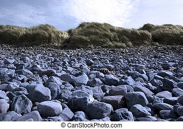 blaues, dünenlandschaft, beale, sandstrand, felsig
