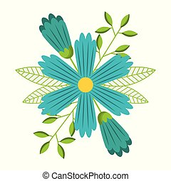 blaues, dekorativ, blume, springen jahreszeit