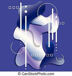 blaues, dekorativ, elements., modern, flüssigkeit, vektor, hintergrund