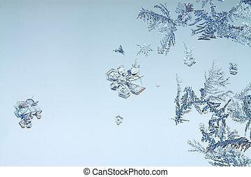 blaues, der, neujahrs, weihnachten, winter, hintergrund, von, eisig, muster