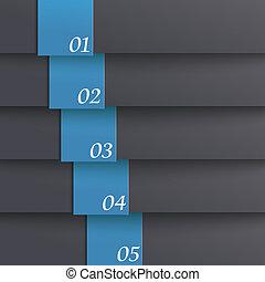 blaues, design, schablone, 5, optionen, piad, schwarz