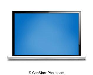 blaues, design, schirm, grafik, edv