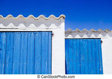blaues, detail, architektur, türen, inseln, weißes,...
