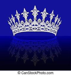 blaues, diadem, hintergrund, drehen, reflexion, weiblich