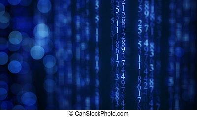 blaues, digital, matrix, regen, auf, screen., seamless, schleife, animation
