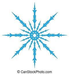 blaues, digitales design, schneeflocke, delikat