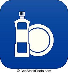 blaues, dishwashing flüssigkeit, reinigungsmittel, digital,...