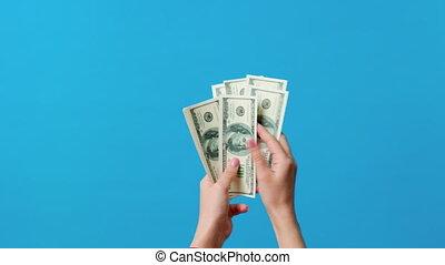 blaues, dollar, hände, zählen, hintergrund, rechnungen
