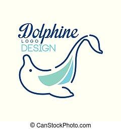 blaues, dolphine, abbildung, element, farben, vektor, design, hintergrund, nautisch, logo, weißes, schablone