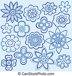 blaues, doodles, blume, design, vektor