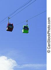 blaues, drahtseilbahn, himmelsgewölbe, aufzug, grün rot, vietnam