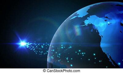blaues, drehen erde, glühen