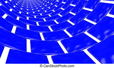 blaues, dreidimensional, render, rectangles., drehen, 3d