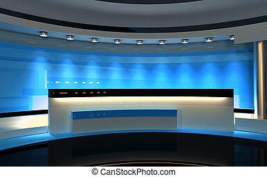 blaues, drop., fernsehapparat, zurück, übertragung, 3d, studio.
