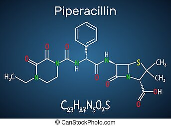blaues, dunkel, antibiotikum, molecule., molekül, ihm, piperacillin, chemische , drug., hintergrund, formel, modell, strukturell