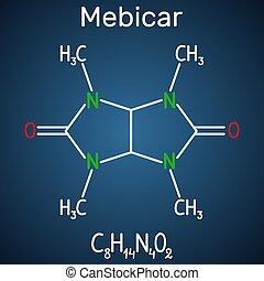 blaues, dunkel, molecule., droge, chemische , hintergrund, anxiolytic, formel, mebicar, (mebicarum), strukturell