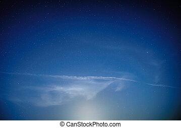blaues, dunkel, nacht himmel, mit, sternen