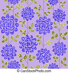 blaues, dunkel, roses., seamless, hintergrund