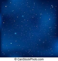blaues, dunkel, sternen, nacht