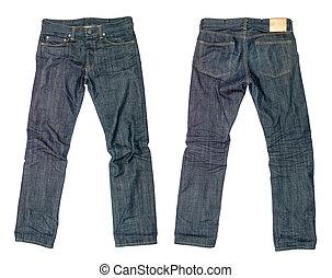 blaues, dunkel, weißes, jeans, hintergrund