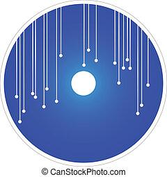 blaues, dvd, vektor, cd