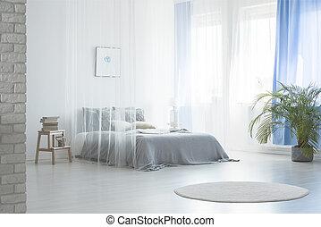 blaues, echte , pflanze, foto, schalfzimmer, teppich, bett, stool., unter, inneneinrichtung, weißes, schleier, runder