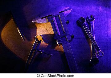 blaues, einige, metall, light., werkzeuge, arbeitsplatz