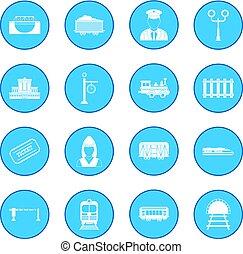 blaues, eisenbahn, ikone